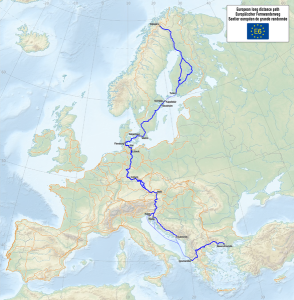 Map of the European Long Distance Path E6